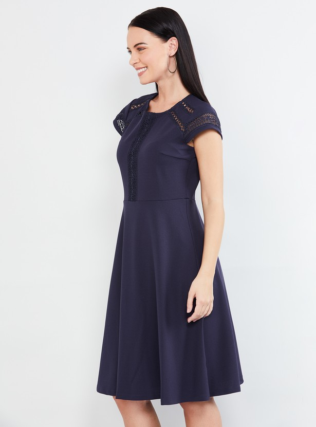 MAX A-line Dress with Lace Insets