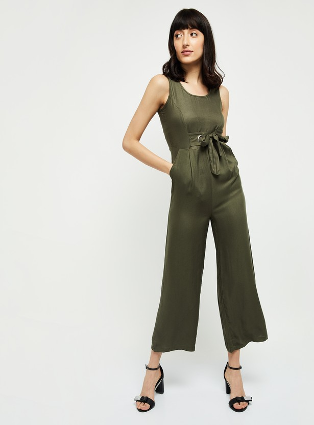 MAX Textured Cropped Jumpsuit with Sash Tie-Up