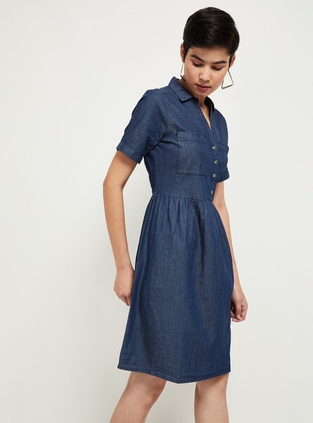 MAX Textured Fit and Flare Dress