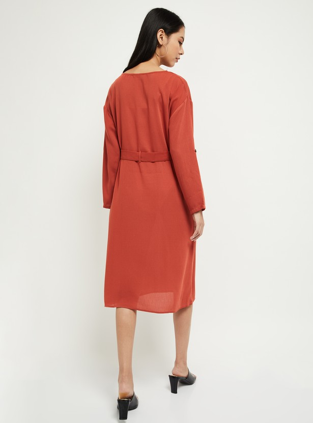 MAX Roll-Up Sleeves Shift Dress