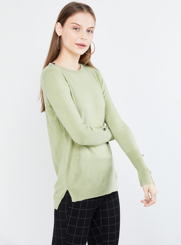 MAX Textured Full Sleeves Sweater