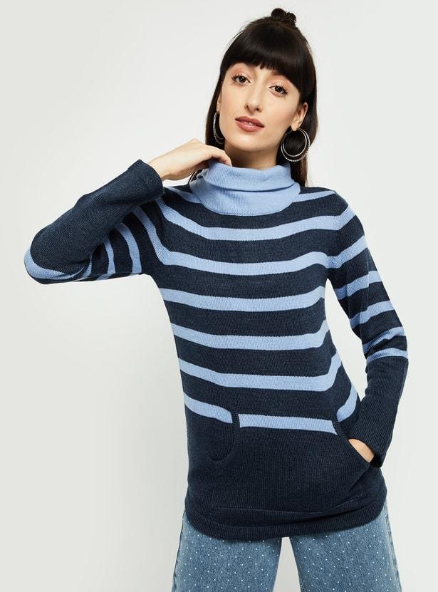MAX Striped High-Neck Sweater