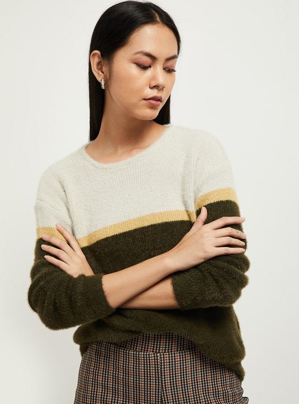 MAX Colourblock Knit Full Sleeves Sweater