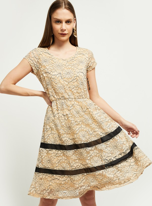 MAX Lace Overlay A-line Dress