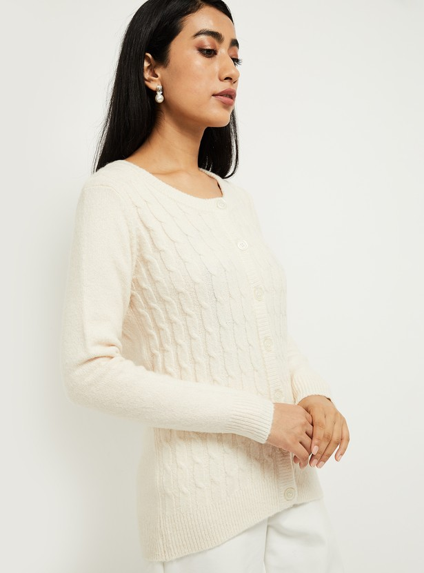 MAX Solid Patterned Knit Cardigan