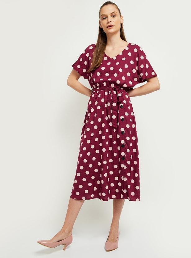MAX Polka-Dot Print V-neck Midi Dress