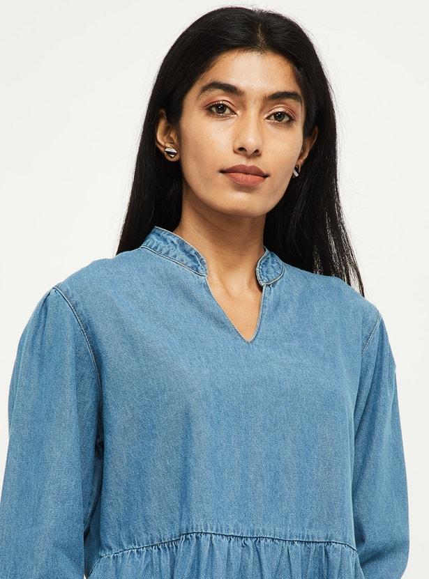 MAX Solid Three-quarter Sleeves Shift Dress