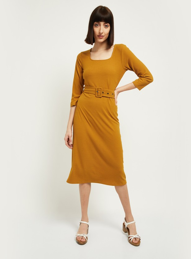 MAX Ribbed Sheath Dress with Belted Waist