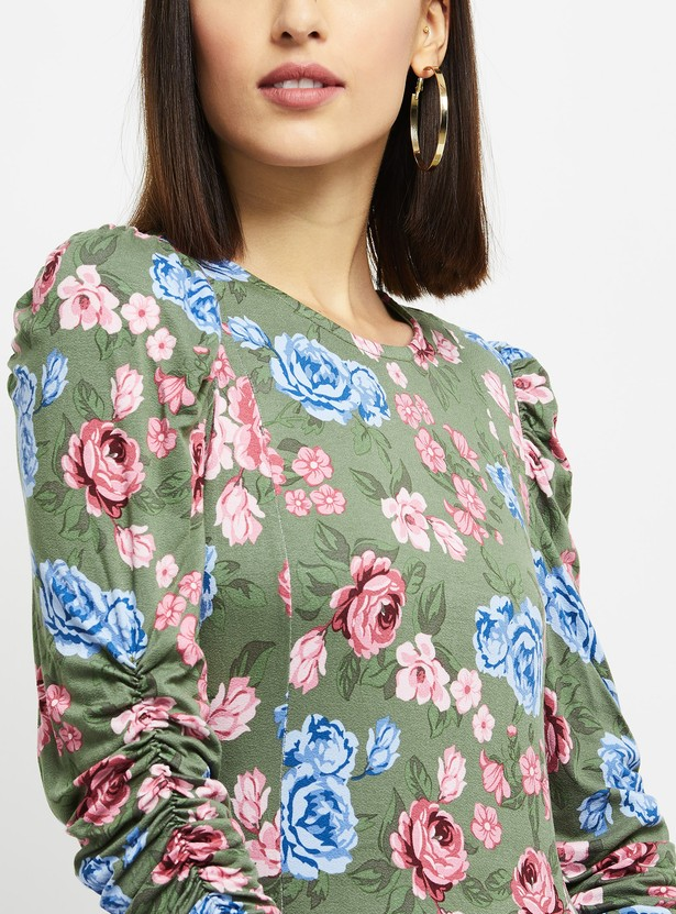 MAX Floral Print Sheath Dress with Ruched Sleeves