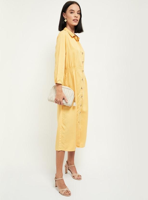 MAX Solid Three-quarter Sleeves Midi Dress