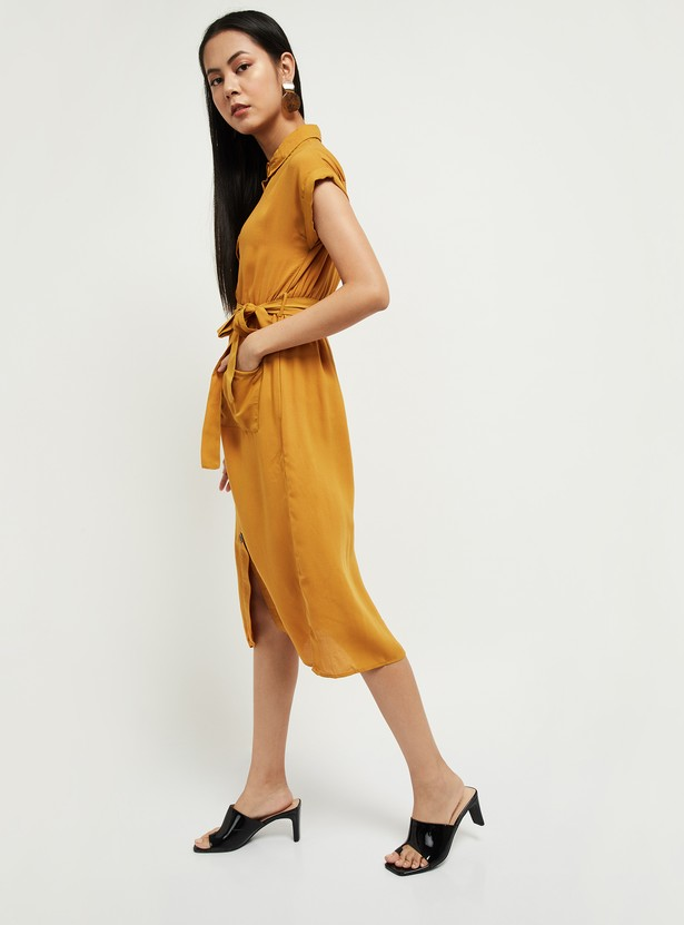 MAX Solid Shirt Dress with Sash Tie-Up
