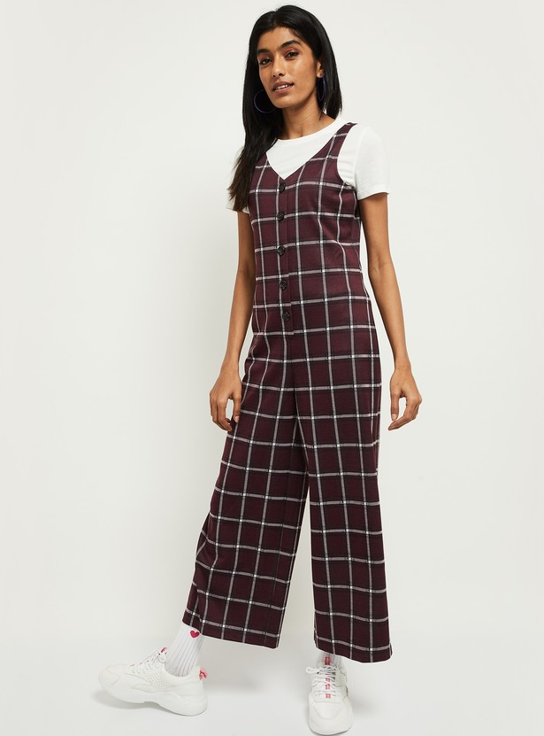 MAX Checked Jumpsuit with Solid Top