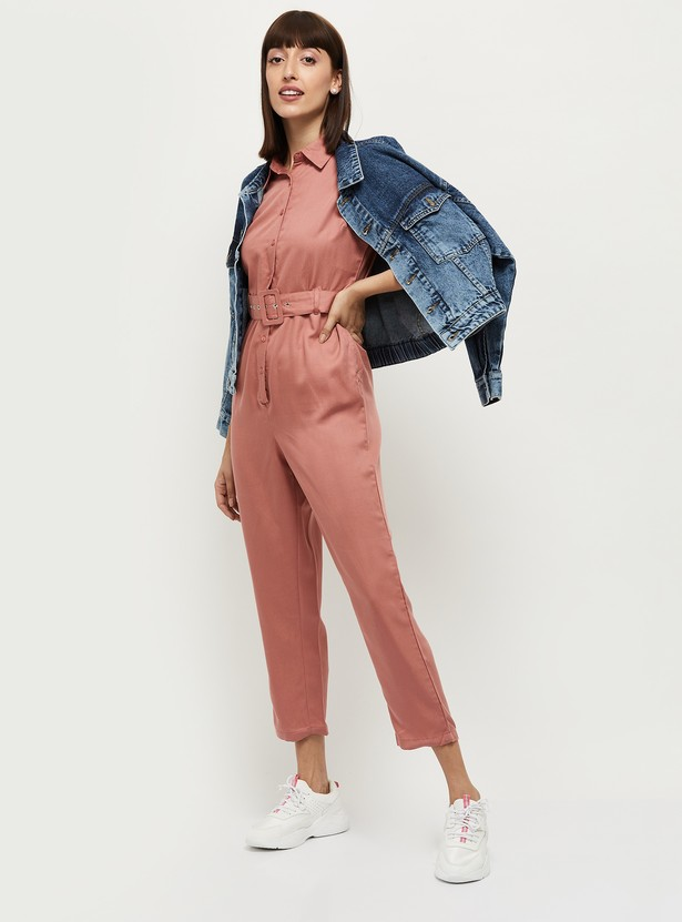 MAX Solid Cropped Jumpsuit