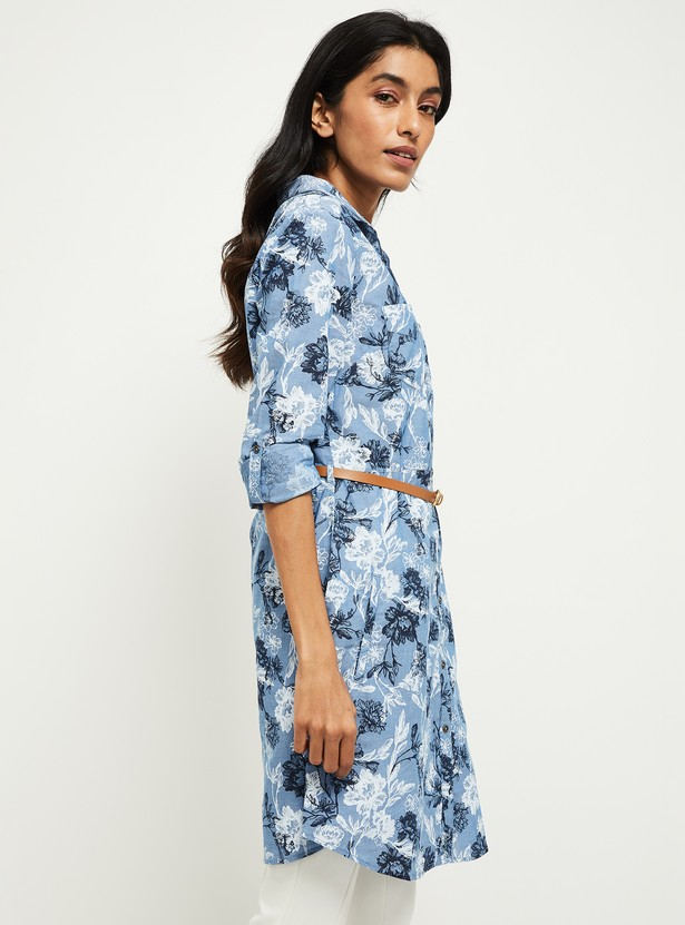 MAX Floral Print Shirt Tunic with Detachable Belt