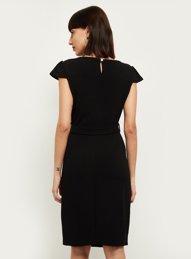 MAX Solid Sheath Dress with Cap Sleeves