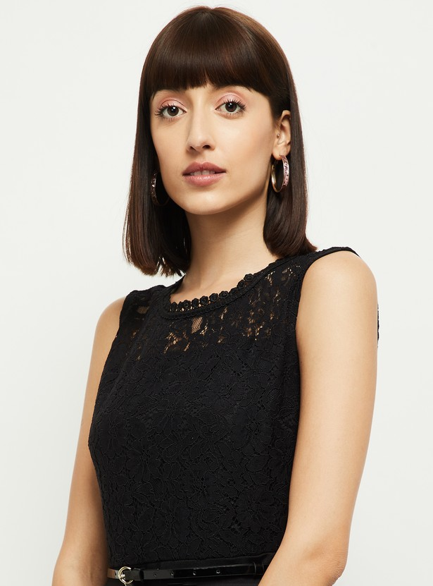 MAX Textured Lace A-Line Dress