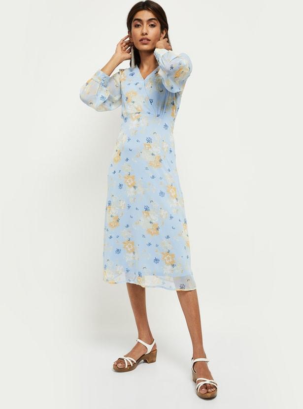 MAX Printed Three-Quarter Sleeves A-line Dress
