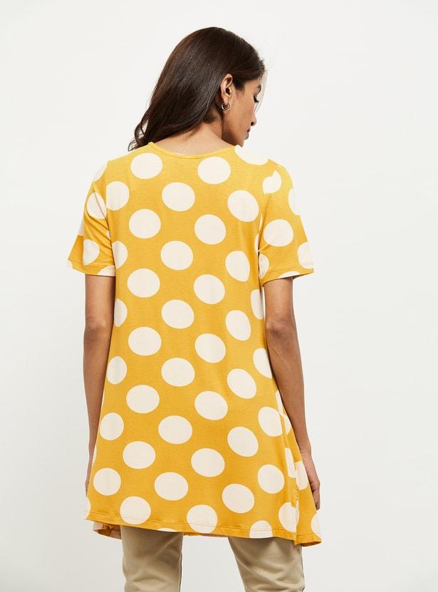 MAX Polka Dot Print V-neck Tunic