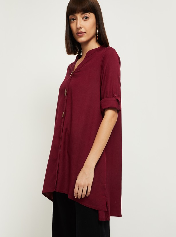 MAX Solid Roll-up Sleeves Tunic