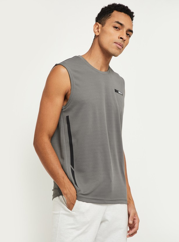 MAX Solid Sleeveless Crew Neck Slim Fit T-shirt