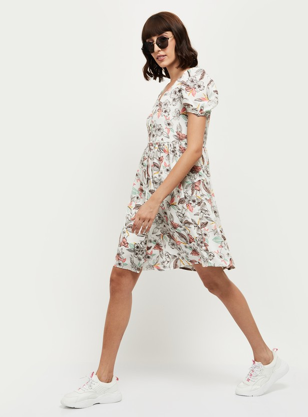 MAX Floral Print Puffed Sleeves A-line Dress