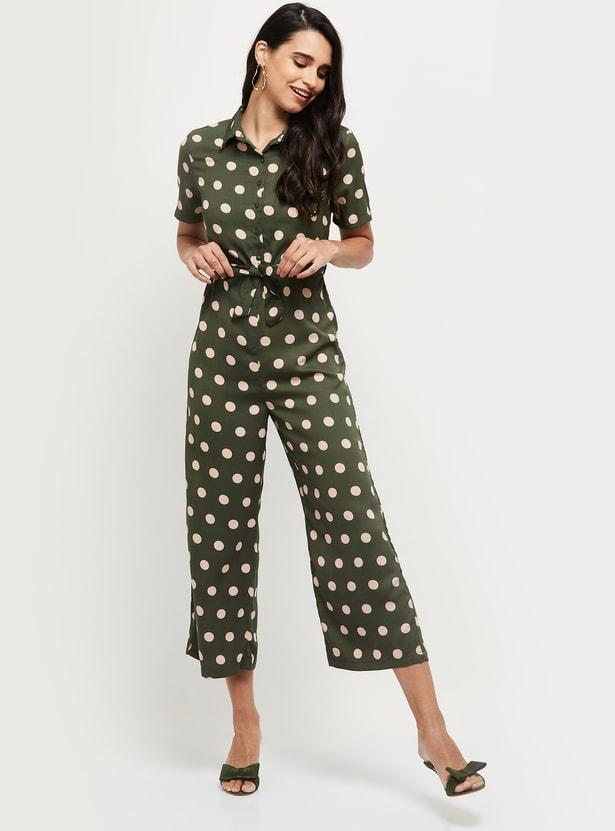 MAX Polka Dot Print Cropped Jumpsuit