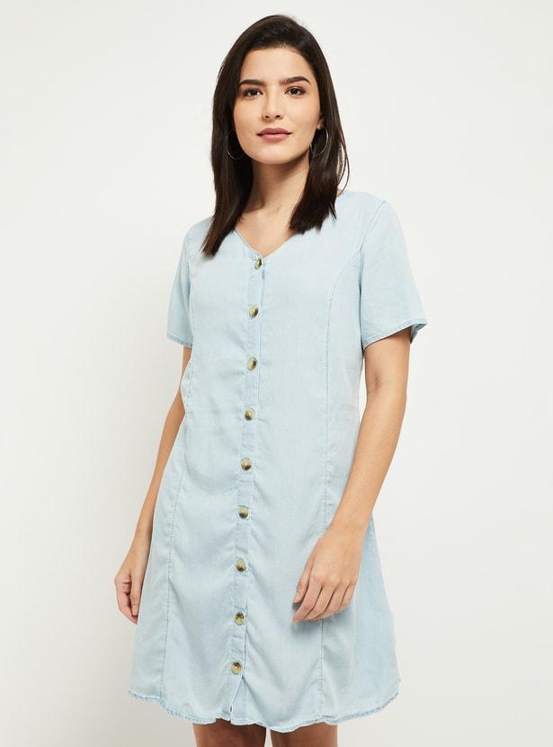 MAX V-neck Denim Mini Dress