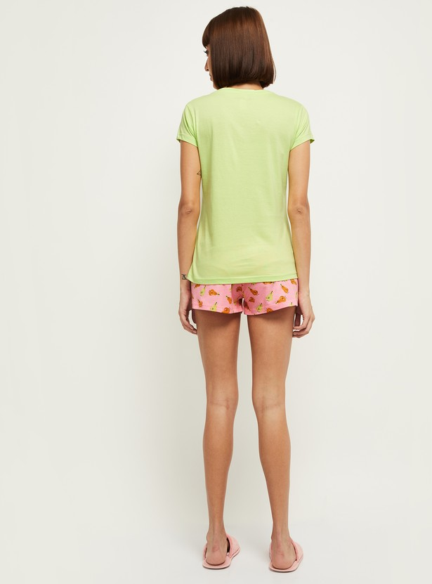 MAX Printed Round Neck T-shirt with Shorts