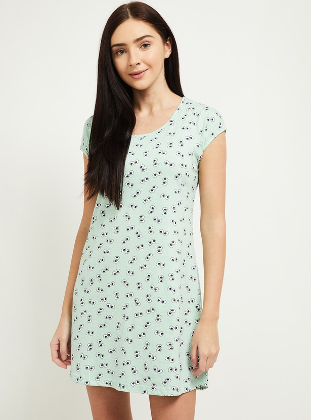 MAX Printed Round Neck Lounge Dress - Pack of 2