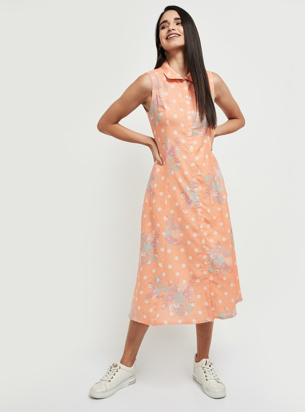 MAX Polka Dot Print Sleeveless Midi Dress