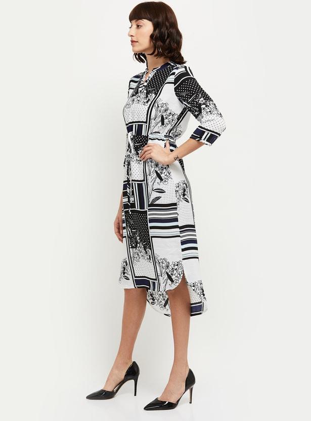 MAX Printed Three-Quarter Sleeves Midi Dress