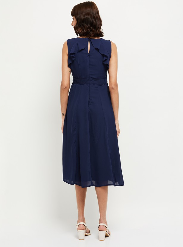 MAX Solid Sleeveless Fit and Flare Dress