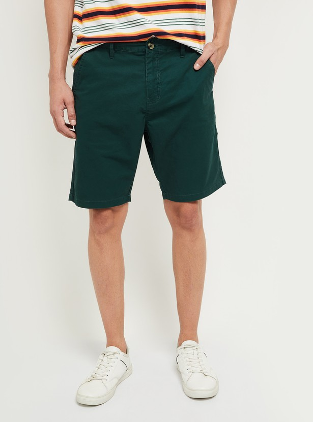 MAX Solid Woven Casual Shorts