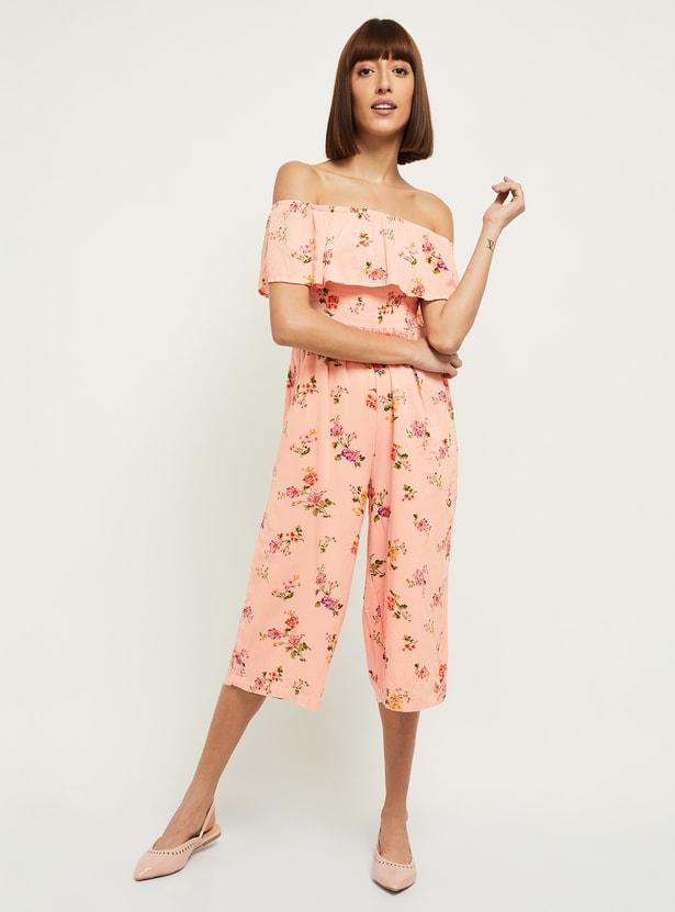 MAX Floral Print Off-Shoulder Jumpsuit
