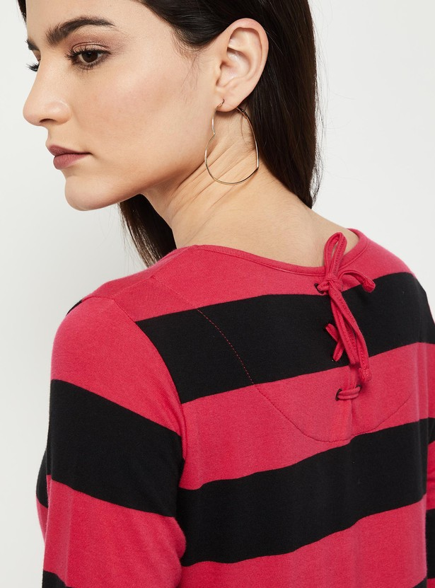 MAX Striped Styled Back Top