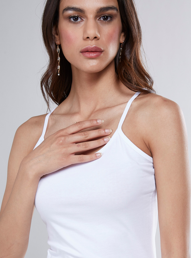Solid Camisole with Scoop Neck and Spaghetti Straps