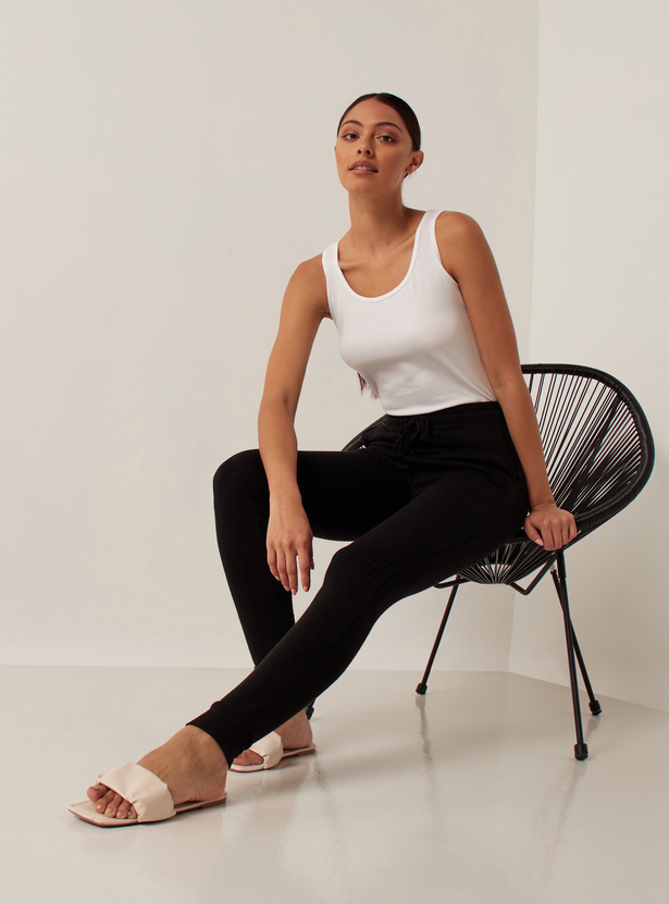 Solid Mid-Rise Joggers with Cuffed Ankles