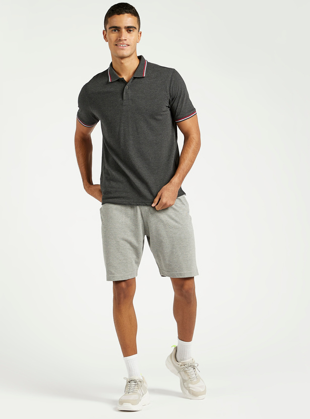 Textured Knee Length Shorts with Pockets and Elasticated Waist