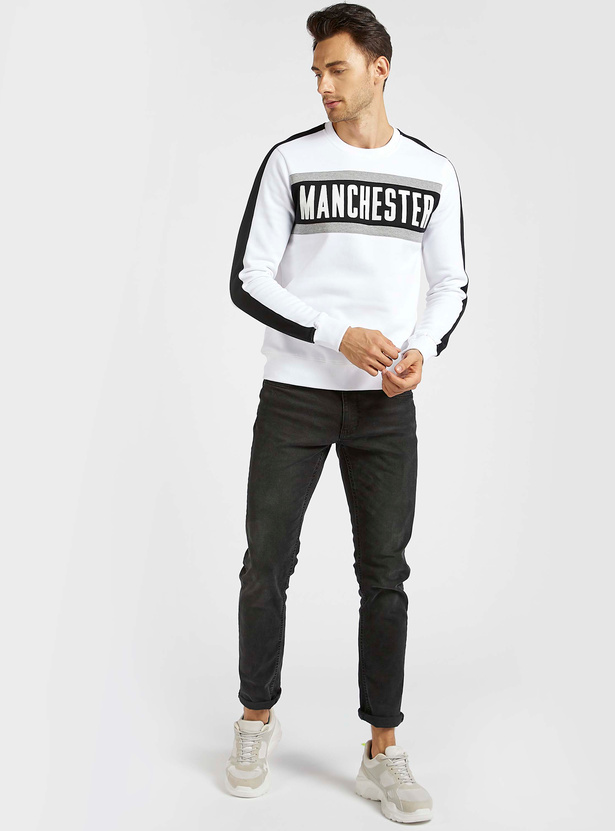 Text Print Sweatshirt with Round Neck and Long Sleeves