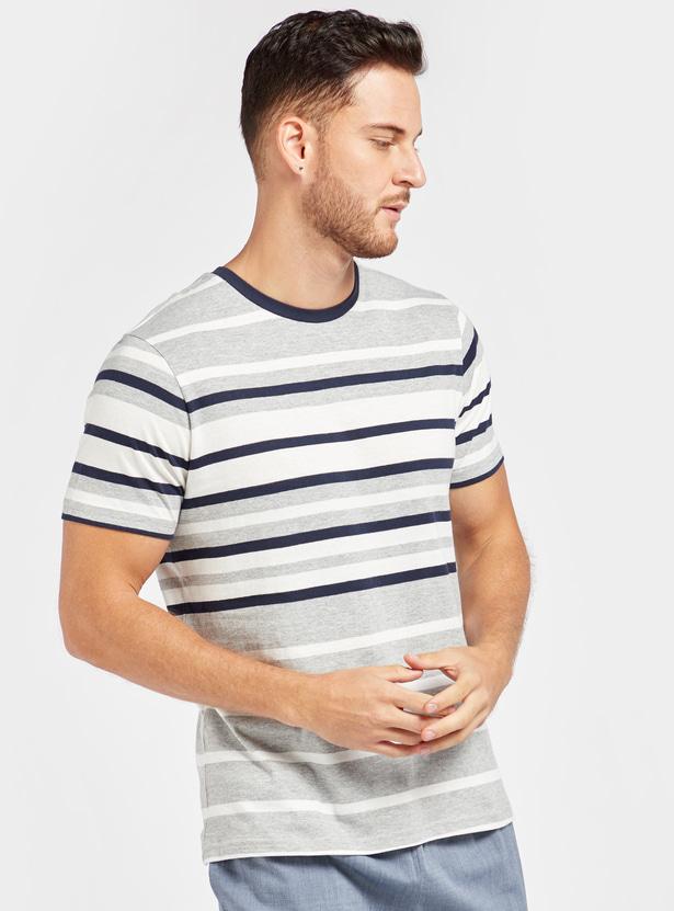 Striped Round Neck T-shirt and Solid Pyjama Set