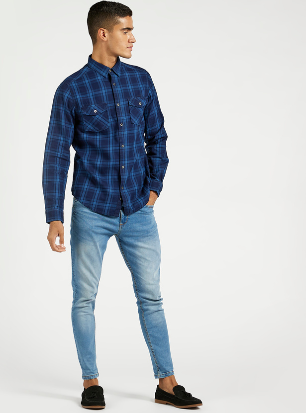 Checked Shirt with Spread Collar and Flap Pockets