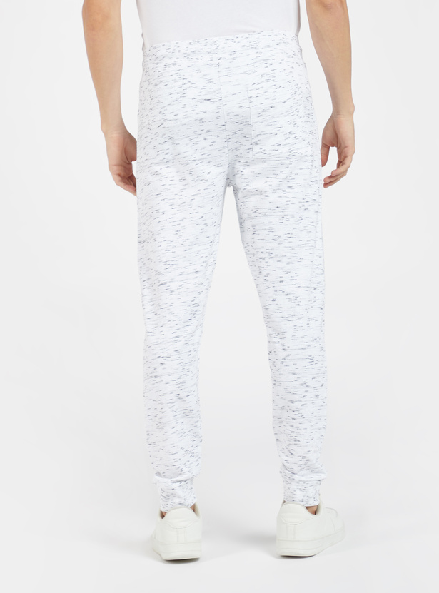 Placement Print Mid-Rise Jog Pants with Drawstring Closure