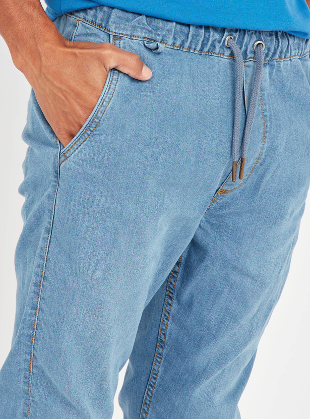 Slim Fit Mid-Rise Denim Jog Pants with Pocket Detail and Drawstring
