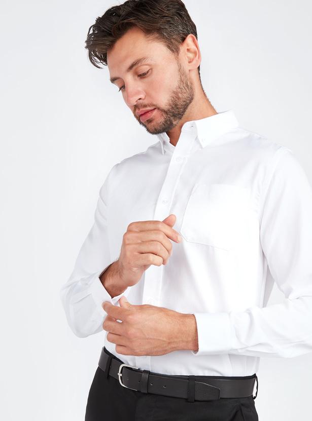 قميص سادة سليم بأكمام طويلة وجيب