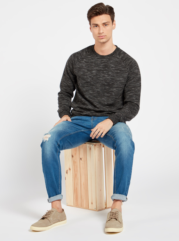 Full Length Distressed Jeans with Pockets and Button Closure
