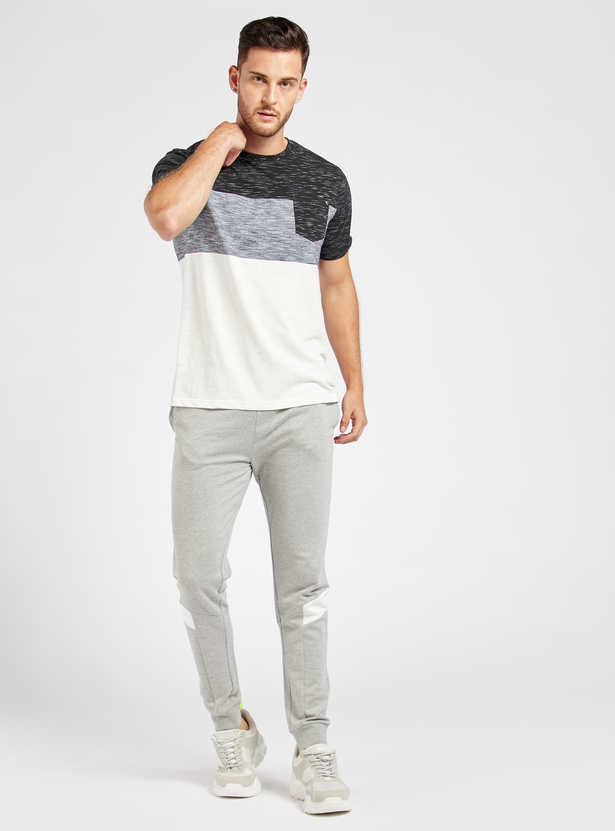 Panelled Round Neck T-shirt with Short Sleeves