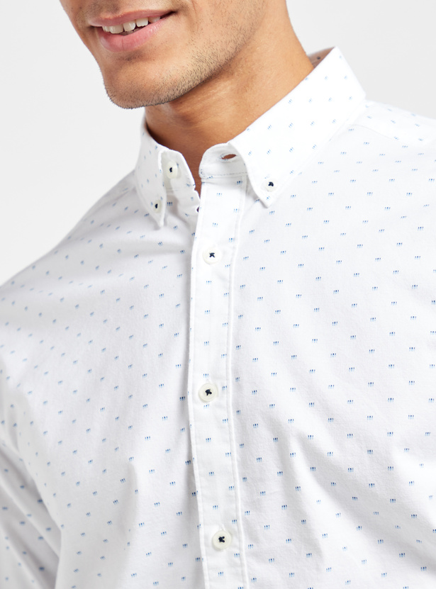 All-Over Print Oxford Shirt with Long Sleeves and Complete Placket