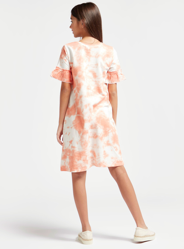All-Over Tie Die Print Dress with Round Neck and Ruffle Sleeves