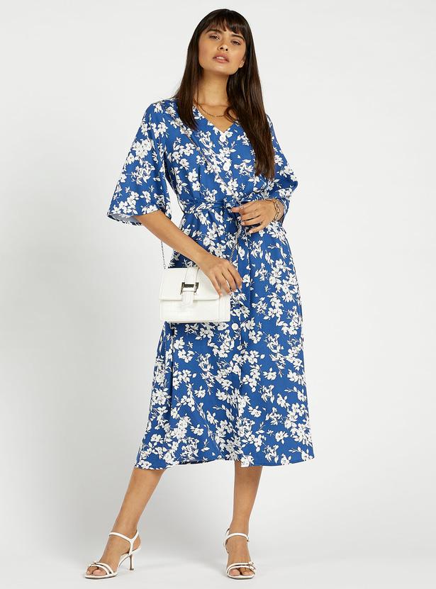 فستان إيه لاين ميدي بطبعات أزهار وأكمام واسعة وأربطة