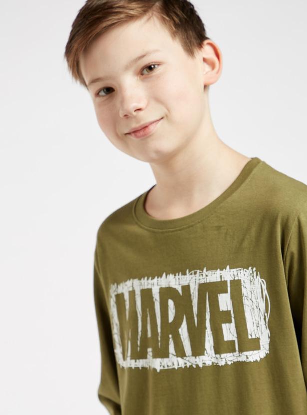 Marvel Text Print Long Sleeves T-shirt and All-Over Print Pyjama Set